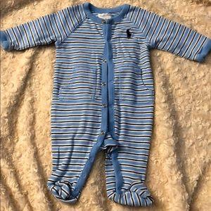 Ralph Lauren, lt blue, footed onesie, 3mos